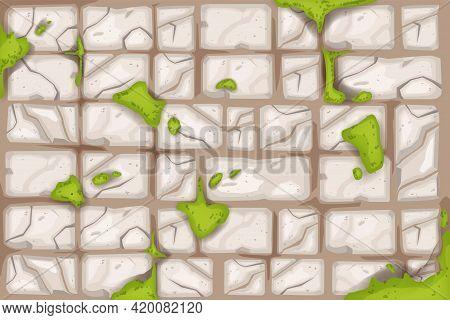 Stone Brick Wall, Vector Old Rock Texture Background, Green Moss, Cracked Broken Tiles Floor Illustr