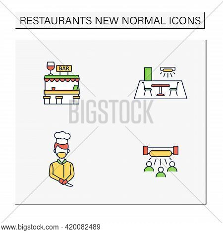 Restaurant New Normal Color Icons Set.disinfection, Ultraviolet Light Disinfection, Worker Uniform,