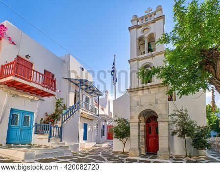 Megali Panagia Or Metropolitan Greek Orthodox Church Of Mykonos, Cyclades, Greece In Alefkandra Squa