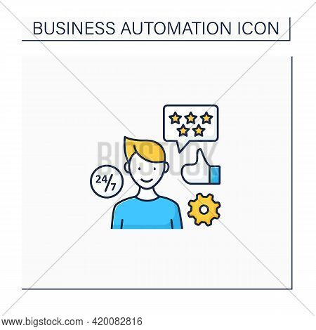 Customer Service Color Icon. Better Customer Service. Rating In Five Stars. Business Automation Conc