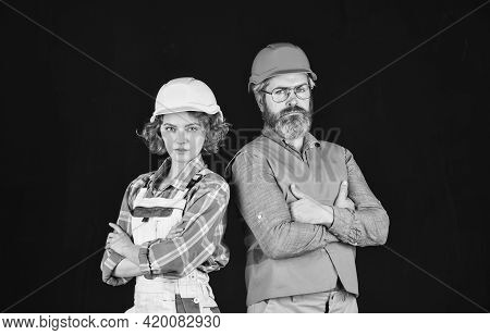 Home Renovation. Couple Renovating House. Gender Equality. Construction Site. Quality Inspector. Con