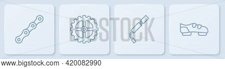 Set Line Bicycle Chain, Air Pump, Sprocket Crank And Shoes. White Square Button. Vector