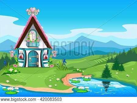 Fairy Tale House With A Pink Roof And Hearts Made Of Precious Stones Against The Backdrop Of A Beaut