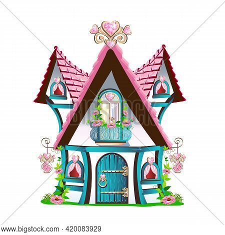 Fairy Tale House With A Pink Roof, A Balcony, A Country Door And Hearts Made Of Precious Stones. Fai