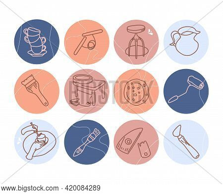 Clay Crafting Blog Or Shop.round Hand Drawn Highlights For Social Media In Doodle Style.pottery Mode