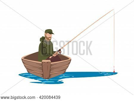 Vector Illustration Of A Fisherman In A Boat Catches Fish On The Lake. Fisherman Isolated On White B