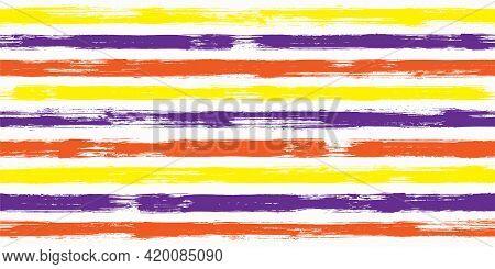 Stylish Watercolor Brush Stripes Seamless Pattern. Ink Paintbrush Lines Horizontal Seamless Texture