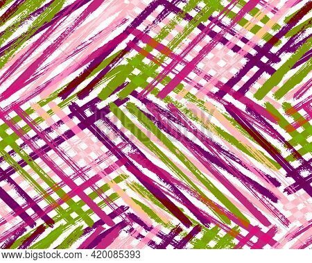 Rough Ink Texture Vector Design. Brush Strokes Lines Multicolor Sketch. Acrylic Paint Shabby Backdro