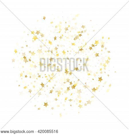 Magic Gold Sparkle Texture Vector Star Background. Awesome Gold Falling Magic Stars On White Backgro