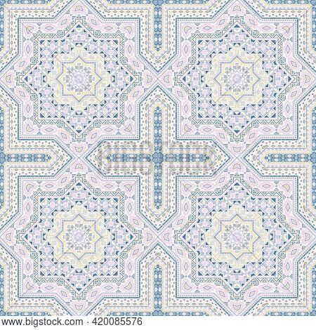 Retro Victorian Majolica Tile Seamless Rapport. Geometric Texture Vector Swatch. Curtains Print Desi