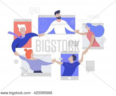 Team Work Online Video Conference. Friendly And Togetherness Team. Isolation Online Meeting. Corpora