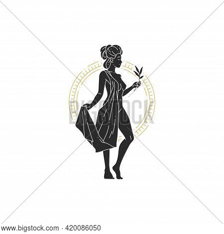 Beautiful Bohemian Woman Goddess With Branch And Leaves Silhouette