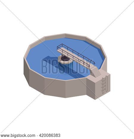 Isometric Icon With 3d Reservoir For Water Treatment 3d Vector Illustration