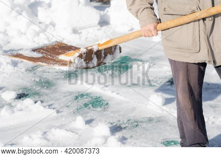 Snow Removal With A Snow Shovel.snow Removal With A Snow Shovel