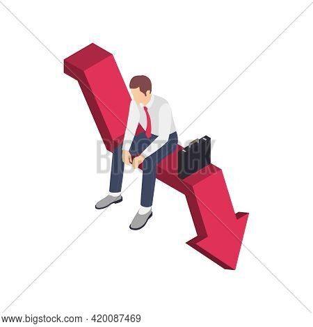 Professional Burnout Depression Frustration Isometric Composition With Business Worker Character Sit