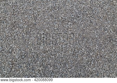 Dry White Limestone Ballast Flat Full Frame Background. Small Gray Dusty Broken Macadam Stones Textu