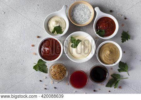 Set Of Sauces - Ketchup, Mayonnaise, Mustard, Soy Sauce, Barbecue Sauce, Tartar, Mustard Seeds, Cran