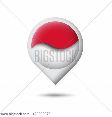 Indonesia Flag Icon In The Shape Of Pointer, Map Marker. Waving In The Wind. Abstract Waving Indones