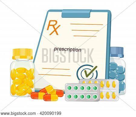 Color Vector Illustration Of Rx Form Doctor Prescription. Medicines With Medical Blank On White Back
