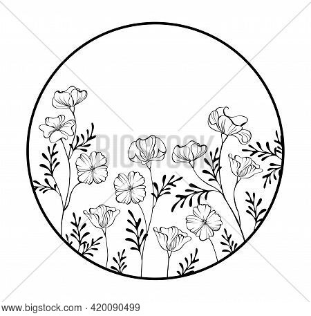 Round Contour Frame With Artistically Drawn California Poppy On White Background. Coloring.