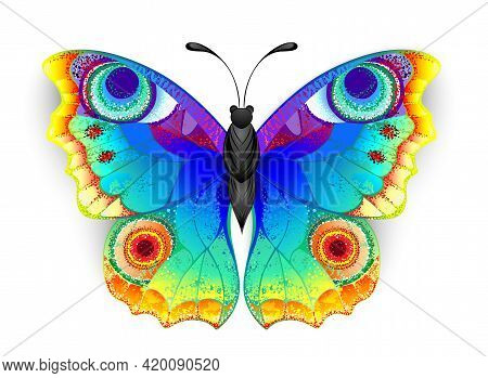 Rainbow, Realistic, Artistically Drawn, Bright Colors Peacock Butterfly With Textured Detailed Wings
