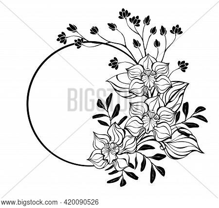 Round Frame, Decorated With Contour, Artistically Drawn Orchid Flowers On White Background. Coloring