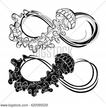 Two Contour Infinity Symbols With Black Jellyfish Decorated With Long Tentacles On A White Backgroun
