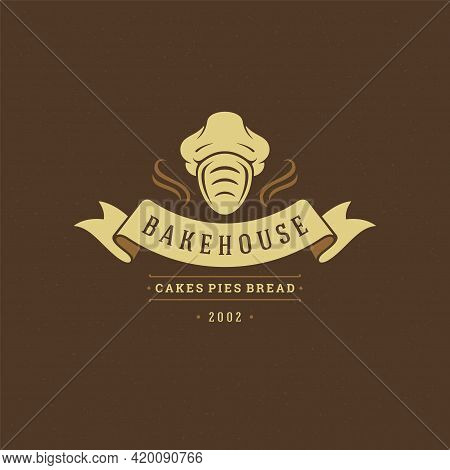 Bakery Badge Or Label Retro Vector Illustration. Bread Or Loaf I Chef Hat Silhouette For Bakehouse.