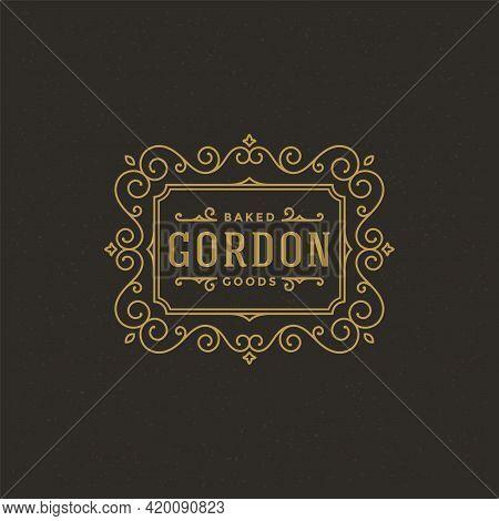 Bakery Badge Or Label Retro Vector Illustration. Flourishes Line Ornament For Bakehouse.