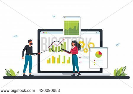 Marketing Investment, Demand Planning, Digital Auditing Concept With Tiny People. Accounting. Busine