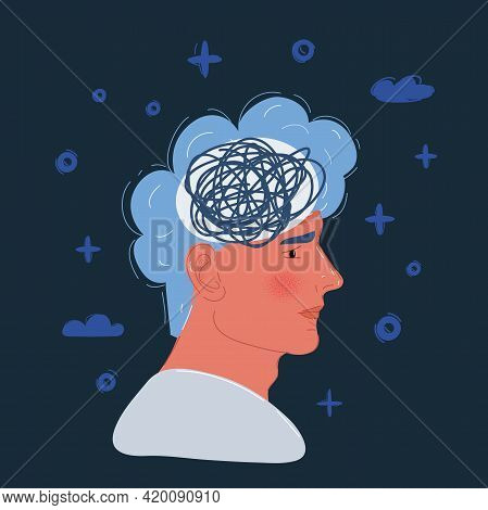 Vector Illustration Of Stressed Man Upset Frustrated Has Too Many Thoughts And Mess In His Head
