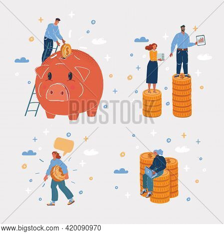 Vector Illustration Of Man And Woman Have Money. Stack Of Coin, Piggy Bank Pig. Saving, Earning, Inc