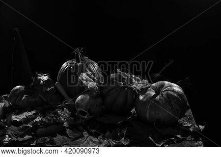 Skull, Pumpkins And Autumn Leaves On A Table