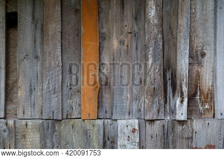 Vertical Gray Messy Wooden Planks With One Brown - Wall Suface Texture And Background