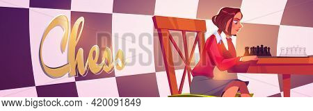 Chess Club Landing Page, Young Girl Playing Board Game Moving Figures On Chessboard During Training