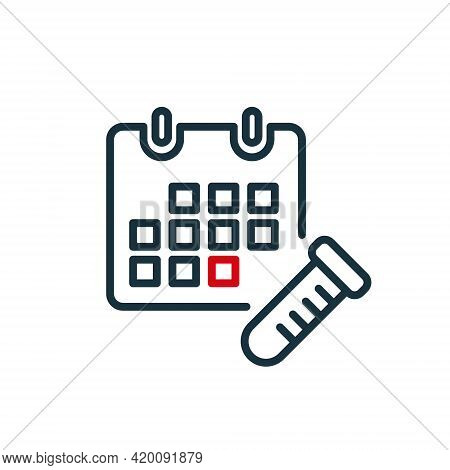 Calendar And Test Tube Line Icon. Schedule Of Take Test, Donate Blood. Annual Checkup Line Icon. Red