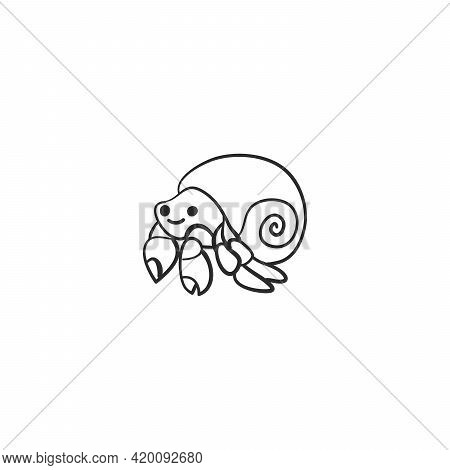 Doodle Hermit Crab, Vector Illustration, Hand Drawing