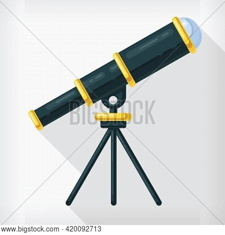 Flat Telescope Astronomy Design Cartoon Style Isolated Drawing