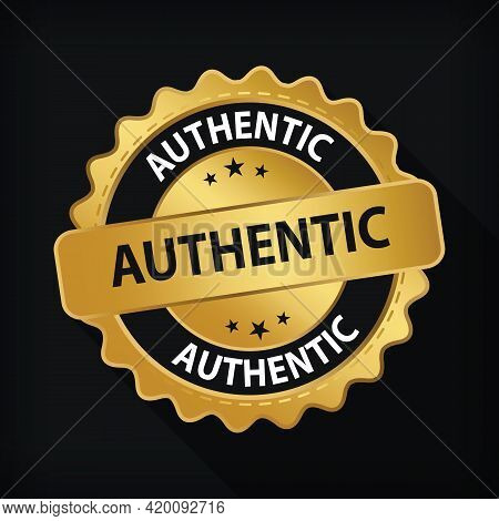 Gold Badge Authentic Guarantee Label Logo Isolated Round Emblem Sign