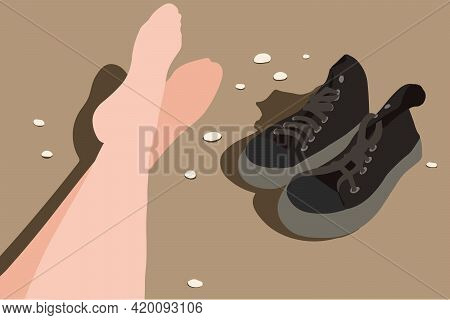 Abstract Vector Poster. Women's Feet On The Beach. Sneakers On The Sand. Vacation And Tourism Concep