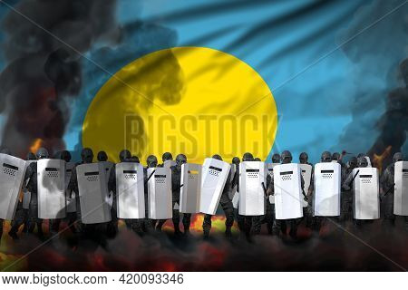 Palau Police Swat In Heavy Smoke And Fire Protecting State Against Riot - Protest Stopping Concept,
