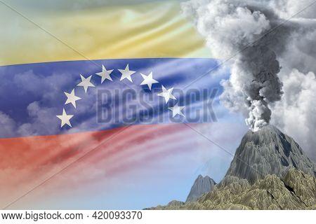 Stratovolcano Blast Eruption At Day Time With White Smoke On Venezuela Flag Background, Problems Of