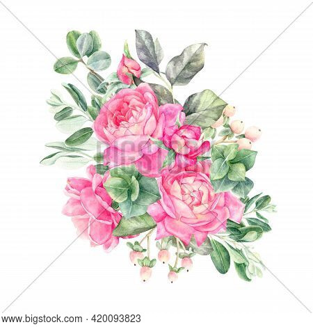 Watercolor Floral Arrangements With Leaves, Herbs, Flowers.