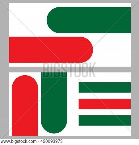 Business Card With Green Red Shapes On A White Background Symbolizing The Italian Or Hungarian Flag.