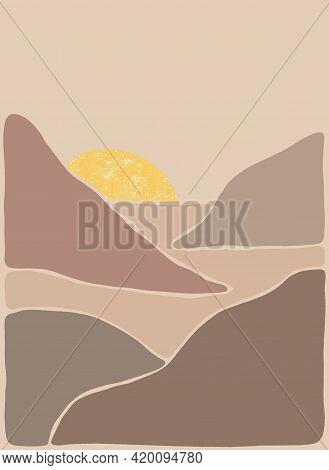 Abstract Bohemian Art Landscape In Earth Tones. Boho Style. Mountain View, Sun, Moon, Hills. Vector