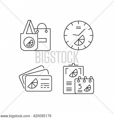 Company Branding Materials Linear Icons Set. Advertising Company Or Business With Use Of Branded Car