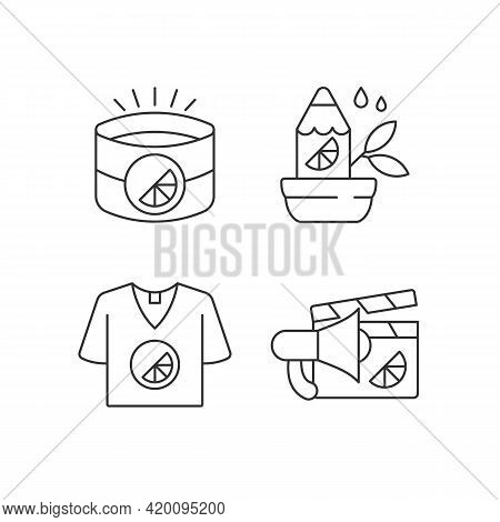 Company Branding Materials Linear Icons Set. Branded Office Equipment. Designed Stylish Clothes. Cus