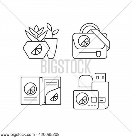 Company Branding Materials Linear Icons Set. Branded Smart Devices For Storing Information. Customiz