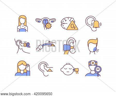 Ear Diseases Rgb Color Icons Set. Health Checkups. Skin Rashes. Hearing Impairment. Earwax Blockage.