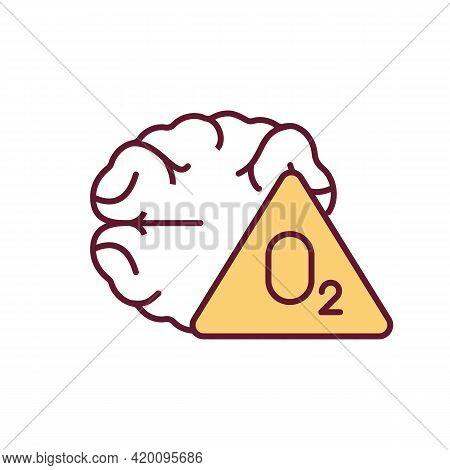 Brain Hypoxia Rgb Color Icon. Oxygen In Brain Lacking. Losing Consciousness. Cardiac Arrest. Oxygen